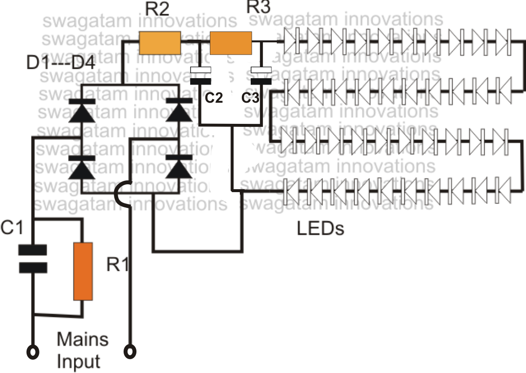 Simple Led Bulb Circuit Homemade Circuit Projects Led Bulb Circuit Projects Circuit Diagram