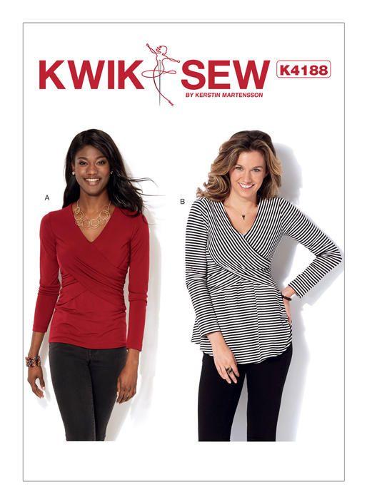 Kwik Sew pattern K4188. Misses\' Front-Crossover Tops | tops ...