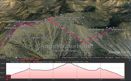 Death Valley Elevation Map.Visual Trail Map Of The Trails Up Rogers Peak And Bennett Peak Note