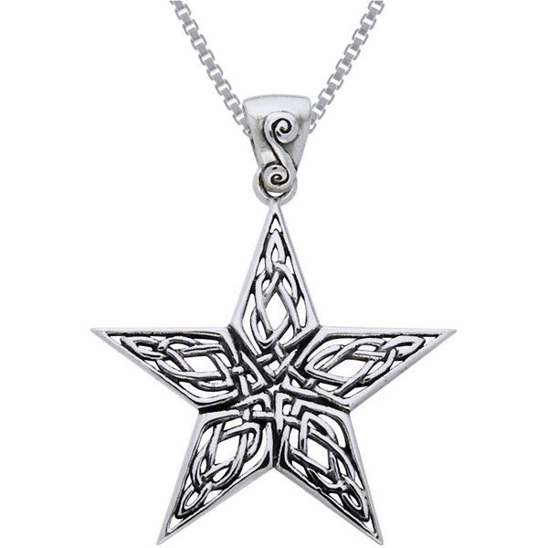Carolina Glamour Collection Sterling Silver Celtic Knot Work Star... ($24) ❤ liked on Polyvore featuring jewelry, necklaces, silver, celtic knot necklace, pendant necklace, long sterling silver necklace, celtic knot pendant and star necklaces