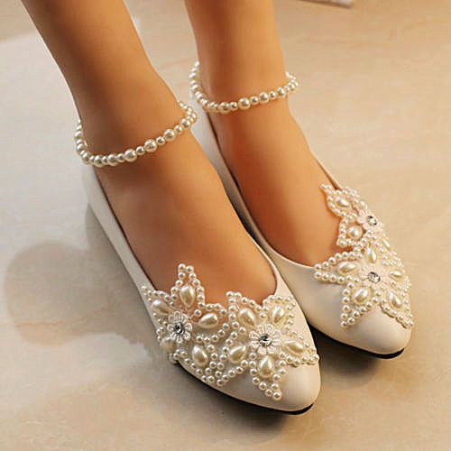 White Lace Wedding Shoes Pearls Ankle Trap Bridal Flats Low High Heels Size 5 12