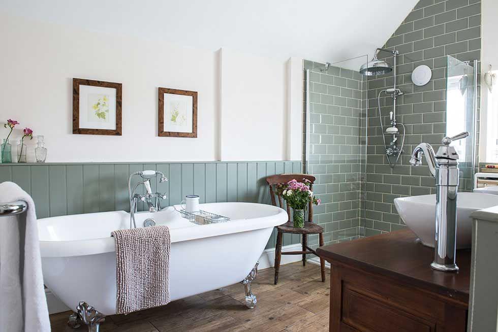 Modern Meets Victorian Bathroom; Wood-look Ceramic Floor