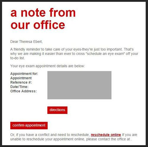 TargetS Email Appointment Reminders Do Not Include A Cancel