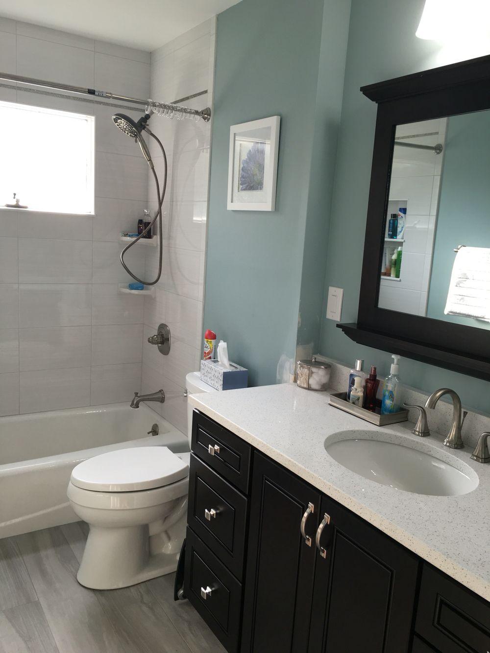Our New Bathroom Bm Wedgewood Grey Paint Wood Tile Floor Espresso Vanity