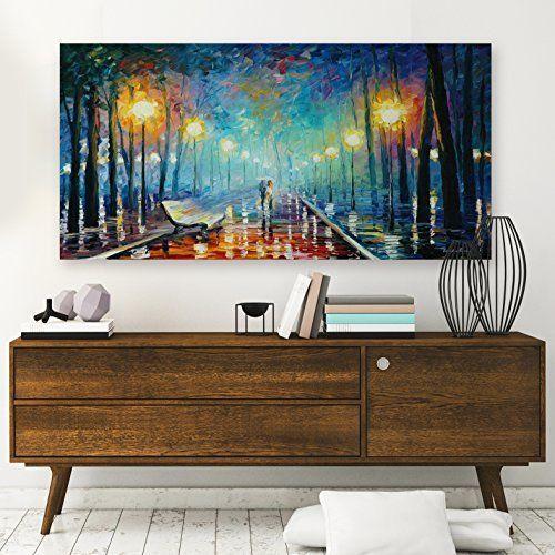 Framed romantic rainy night lover giclee canvas art painting prints wall decor