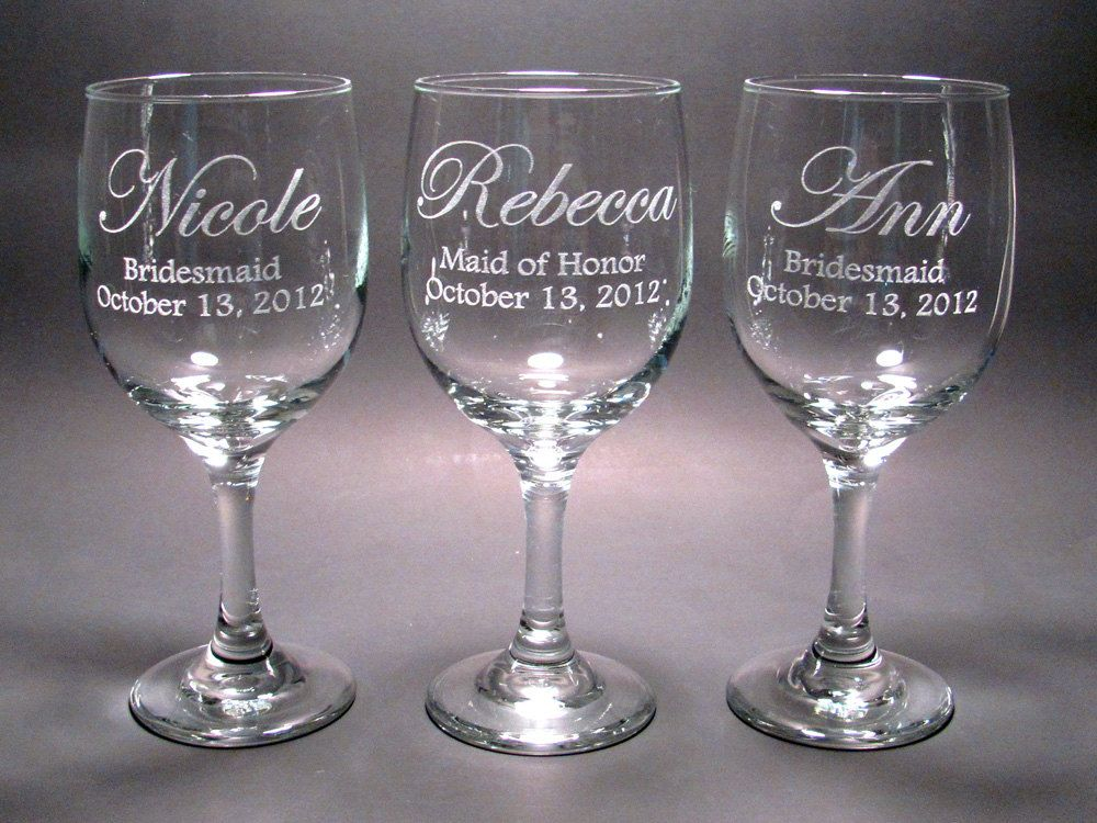 Personalized Bridal Party Wine Glasses - SET OF 6, via Etsy ...
