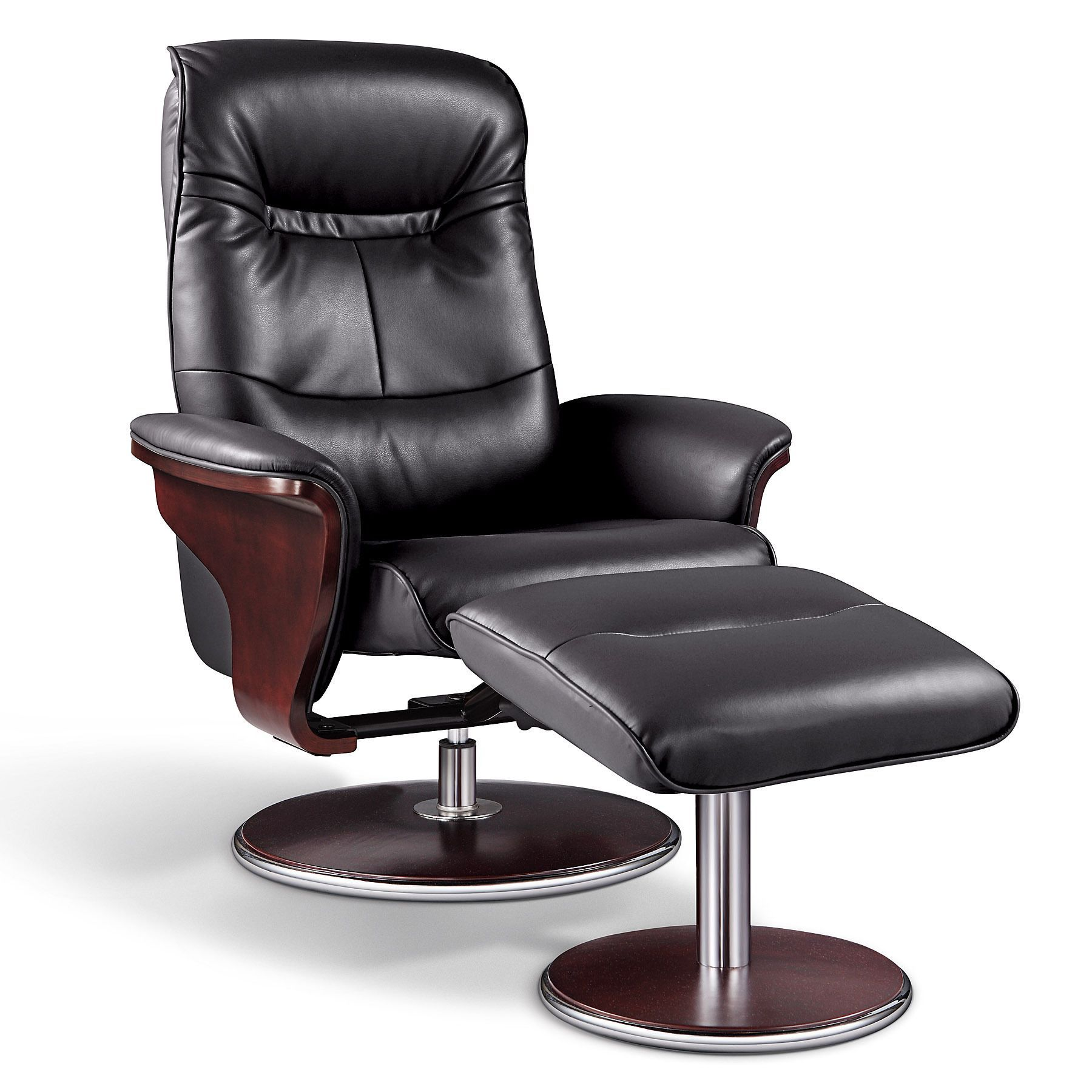 Artiva Usa Milano Modern Bend Wood Black Leather Swivel