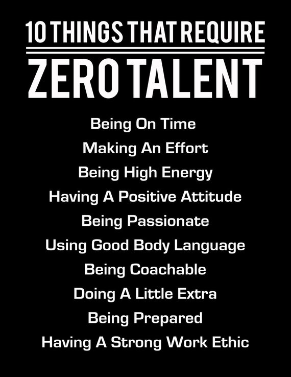 10 Things That Require Zero Talent, White On Black, Inspirational Print, Motivational Poster, Typography Art, Office Wall Decor Success Tips