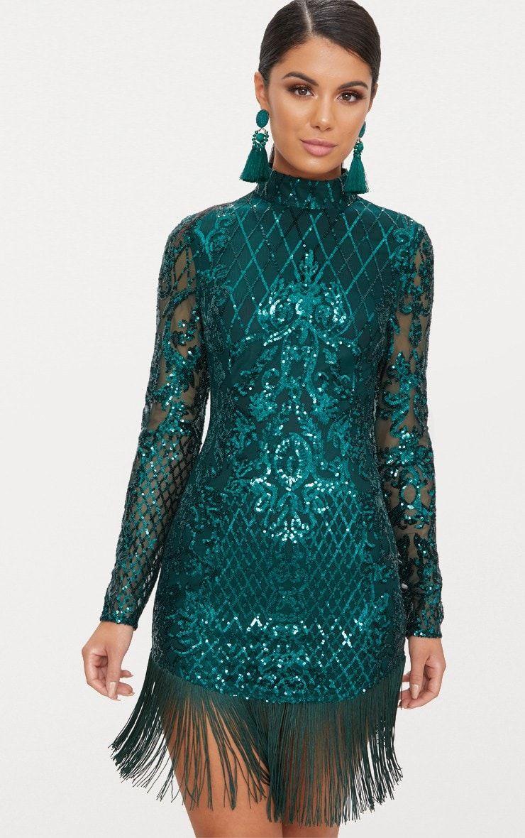 618ea307d8a2 Emerald Green Sequin Long Sleeve Tassel Hem Bodycon Dress |  PrettyLittleThing USA
