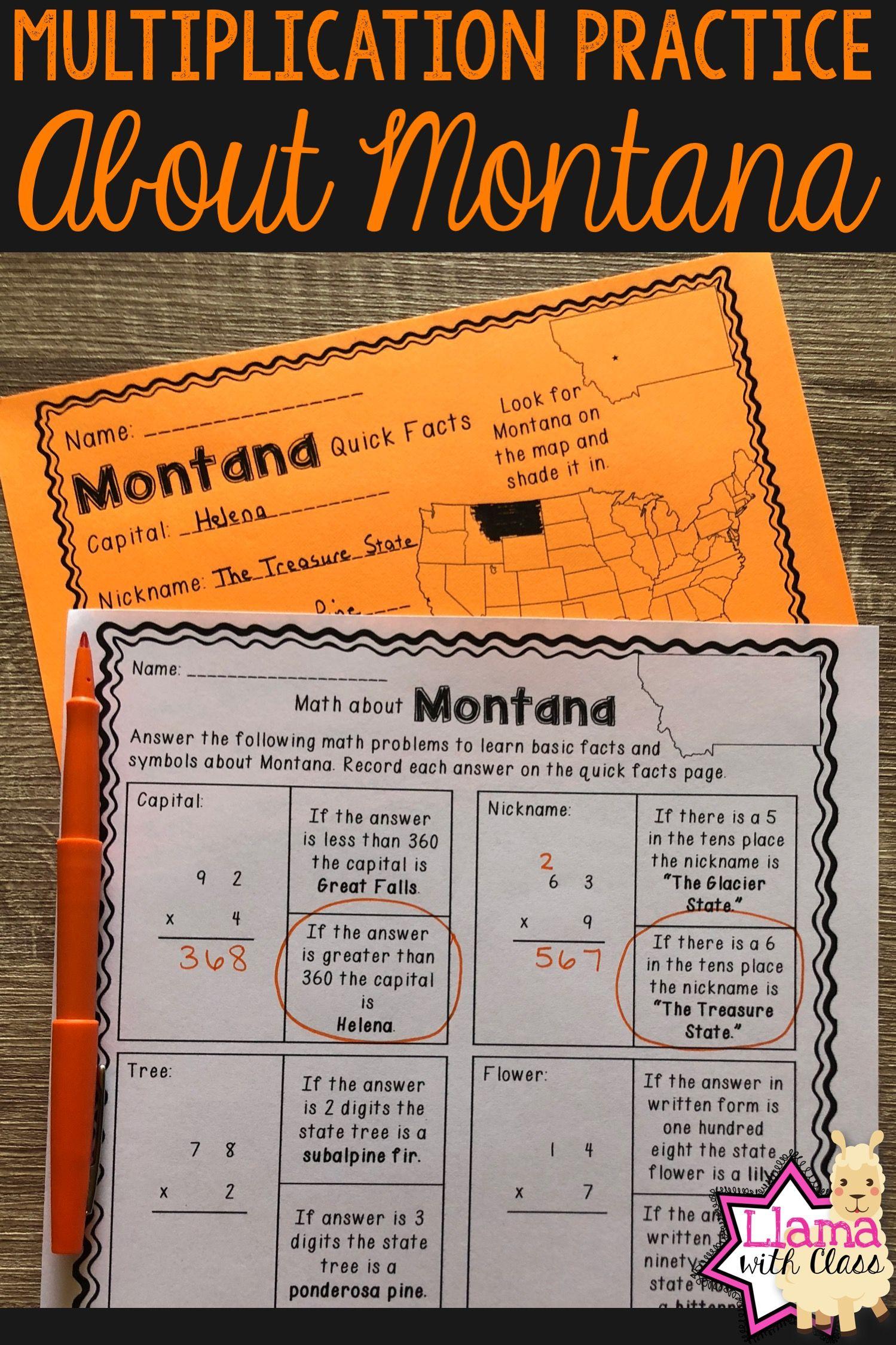 Math About Montana State Symbols Through Multiplication
