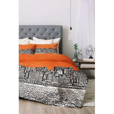 East Urban Home New York Duvet Cover Set Color Orange Size Twin