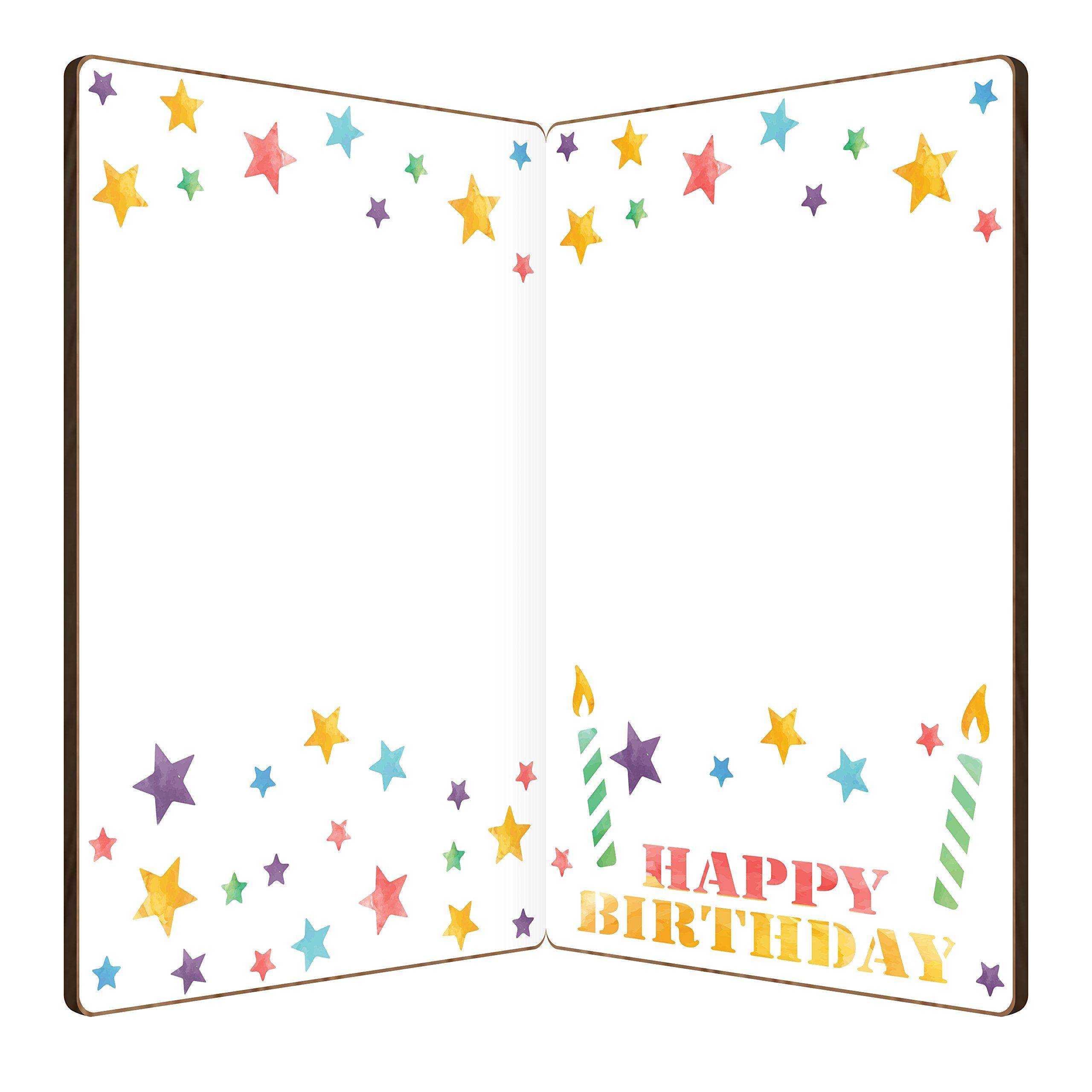 Happy birthday card real bamboo wood greeting card with