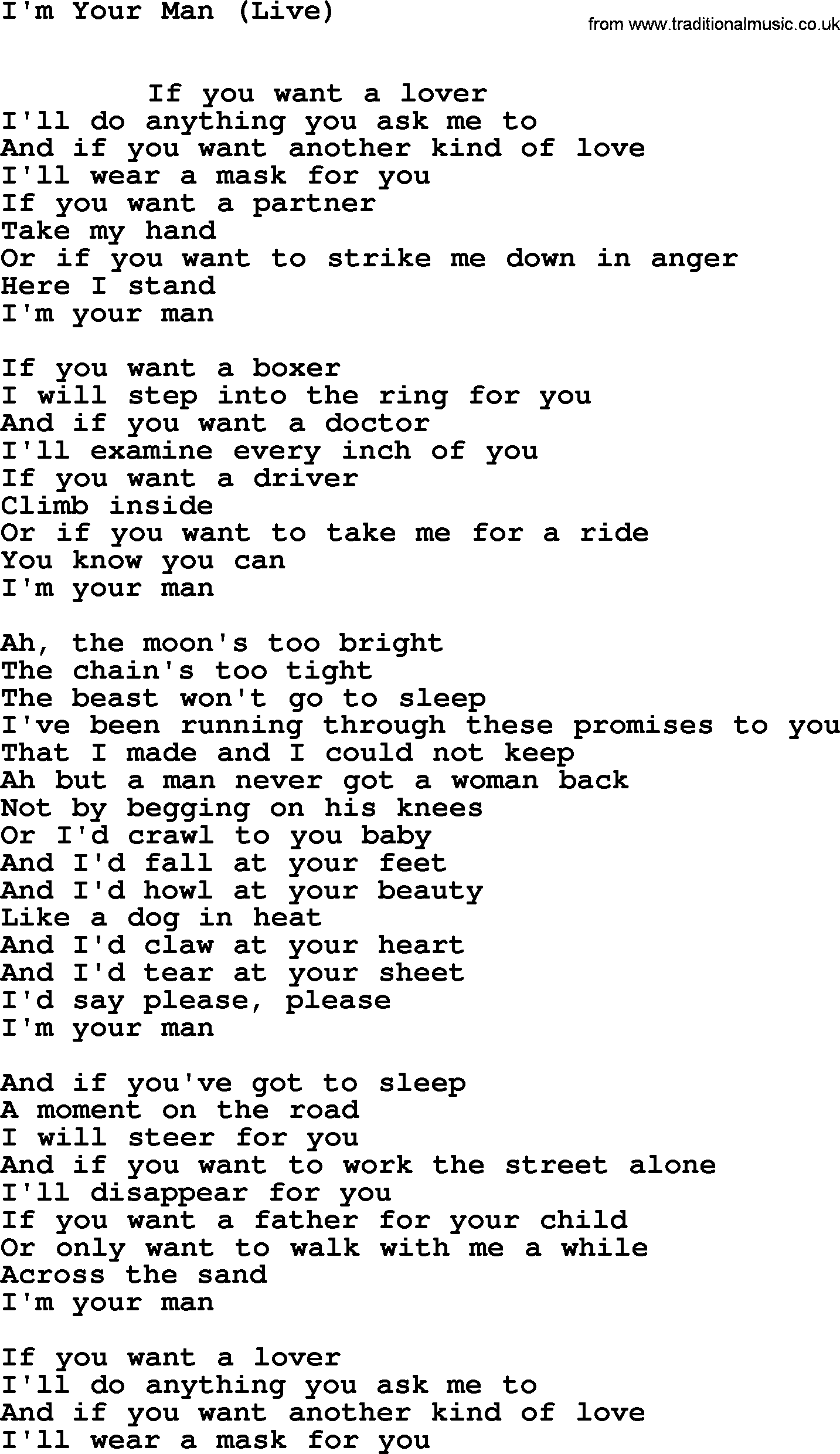 if you want a lover lyrics
