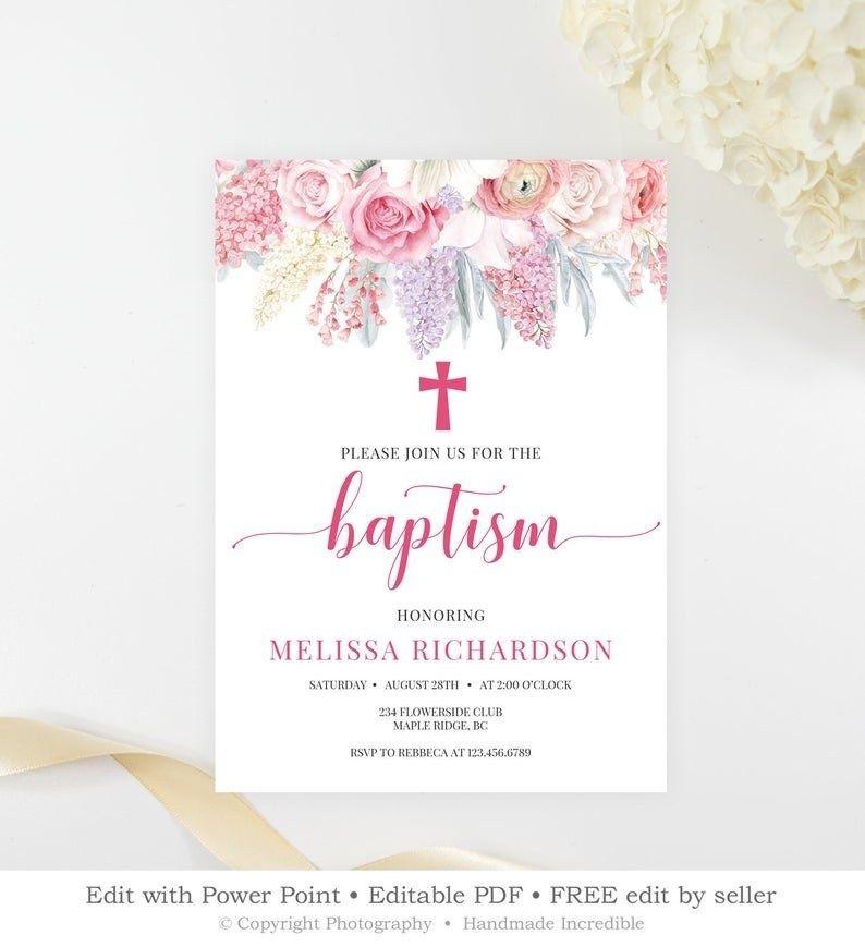 Blush Pink Floral Baptism Invitation Template Printable Spring Flower Christening Invitation