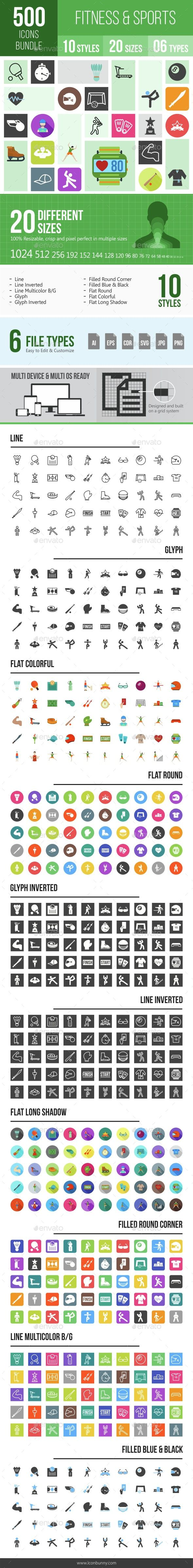 500 Fitness & Sports Icons Bundle #AD #amp, #AFFILIATE, #Fitness, #Bundle, #Icons