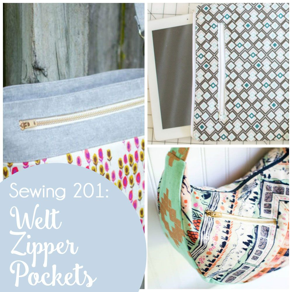 Sewing 201: How to sew a welt zipper pocket {great for a tote bag!}