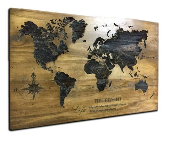 Wood Map Of The World Huge Wood World Map Laser engraved Rustic World Map Travel Map Laser Cut Rustic Home Decor Scorched on wood map #worldmapmural