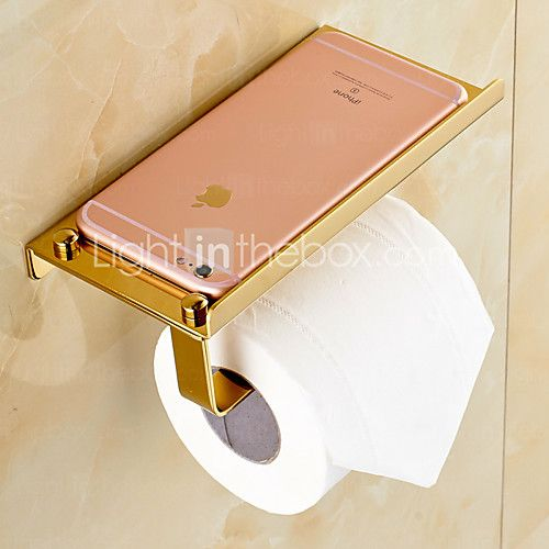 gold plated finishing solid brass material toilet paper holder bathroom mobile holder toilet paper holder - Bathroom Accessories Toilet Paper Holders