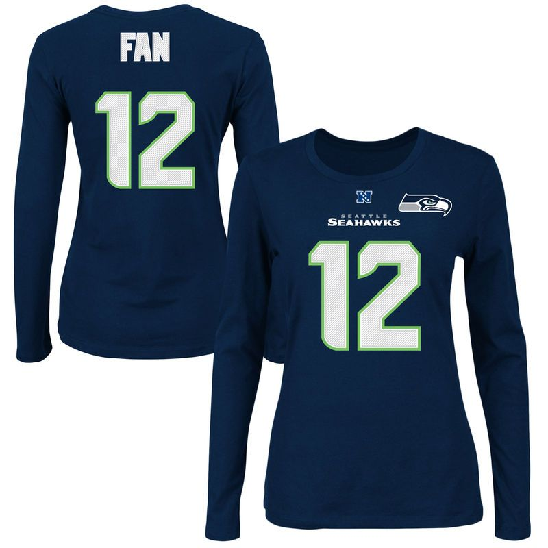06eeb9420 Fan 12 Seattle Seahawks Majestic Women s Fair Catch V Name   Number Long  Sleeve T-Shirt ...