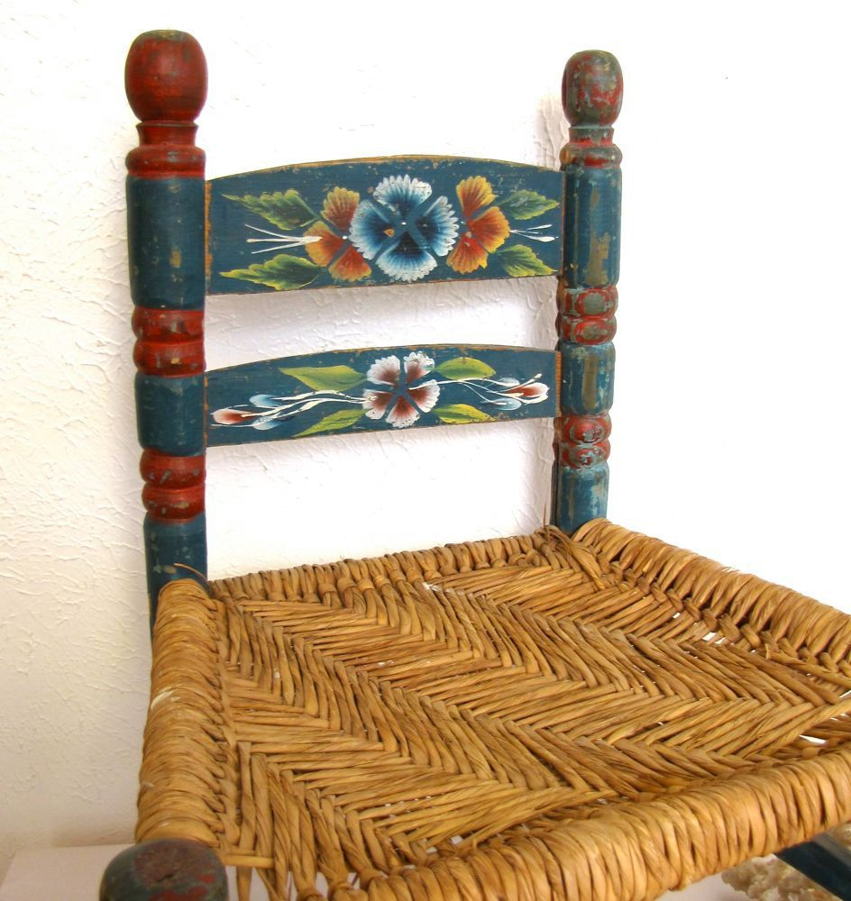 Vintage Hand Painted Mexican Chair Come Sit Awhile And Visit