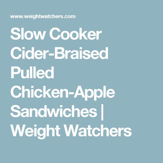 Slow Cooker Cider-Braised Pulled Chicken-Apple Sandwiches | Weight Watchers
