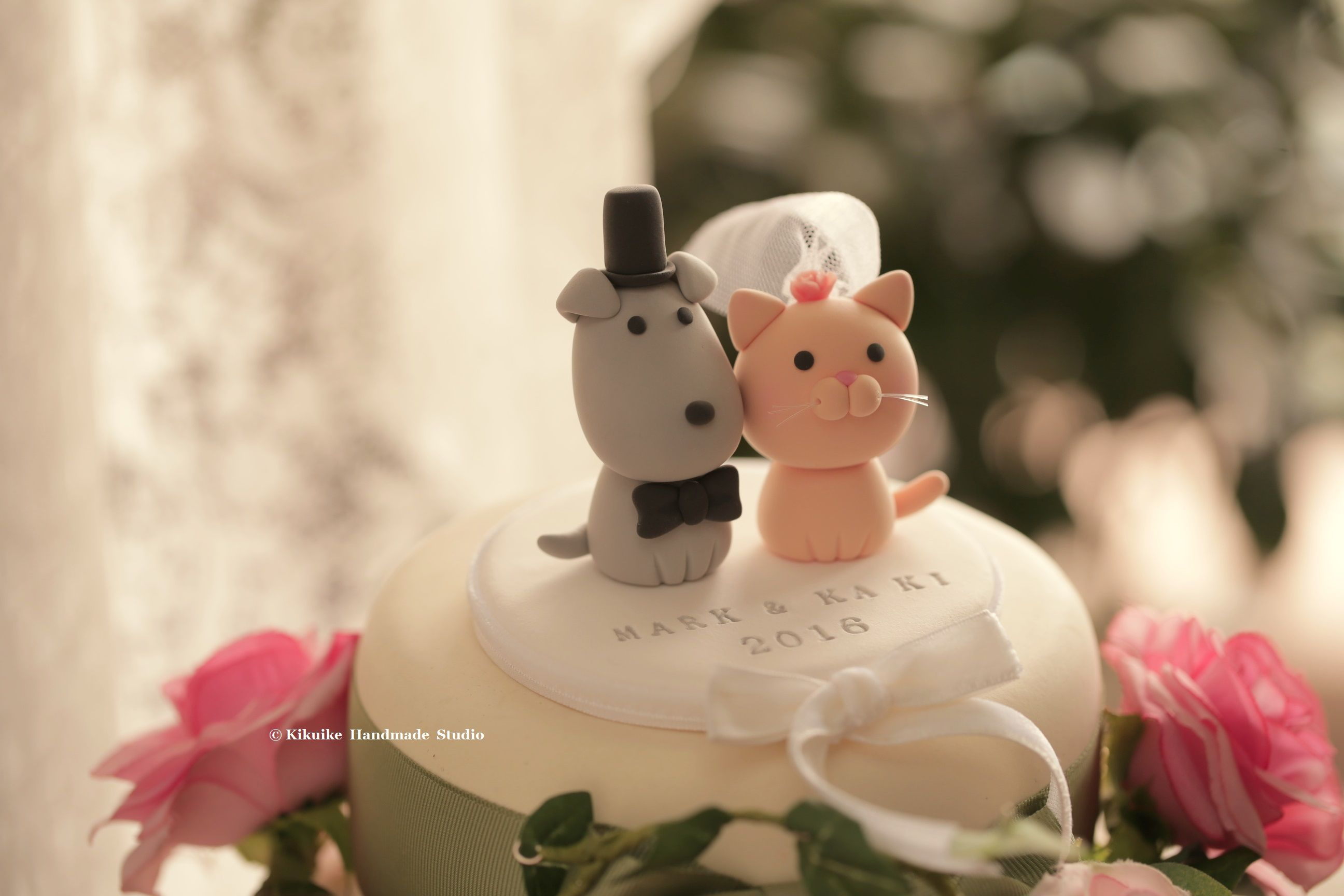 cat and dog Wedding Cake Topper handmadecaketopper