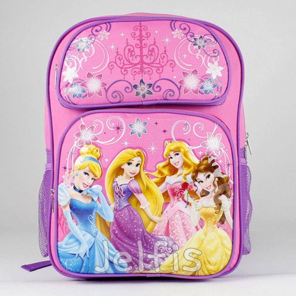 65e04b4ce57 Jelfis.com - Disney Princess Backpack - Flower Swirls Pink 16  Large Girls  School