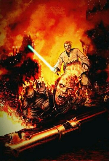 A Scene From Revenge Of The Sith Featuring A Battle Scene Between Obi Wan Kenobi And Anakin Skywalker On The V Star Wars Images Star Wars Awesome Star Wars Art