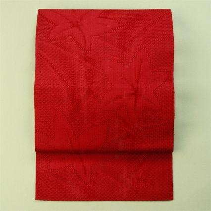 Red, hassun nagoya obi for summer / 赤色織りの楓柄全通羅八寸夏物
