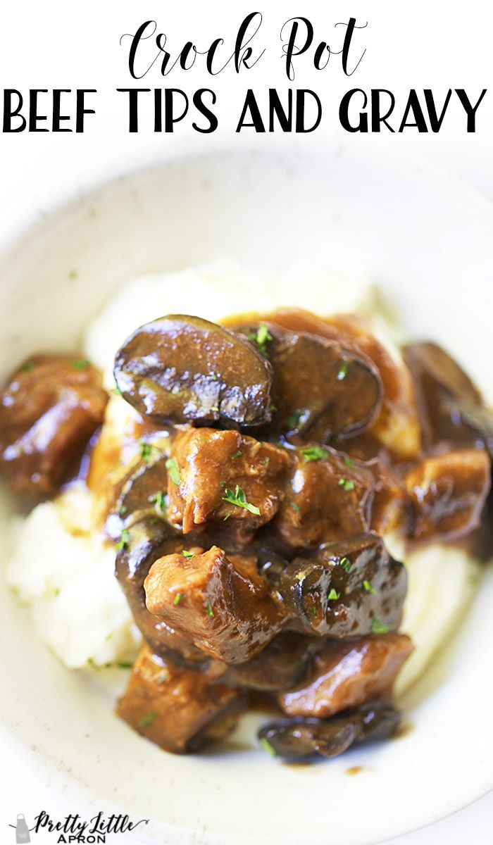 Crock Pot Beef Tips and Gravy  5 Simple Ingredients!  Pretty Little Apron is part of Crockpot beef - This Crock Pot Beef Tips and Gravy recipe is super quick, easy, and delicious! No canned soups or weird ingredients here!
