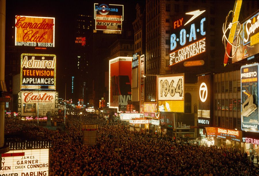 Crowds engulf Broadway on New Year's Eve, January 1964