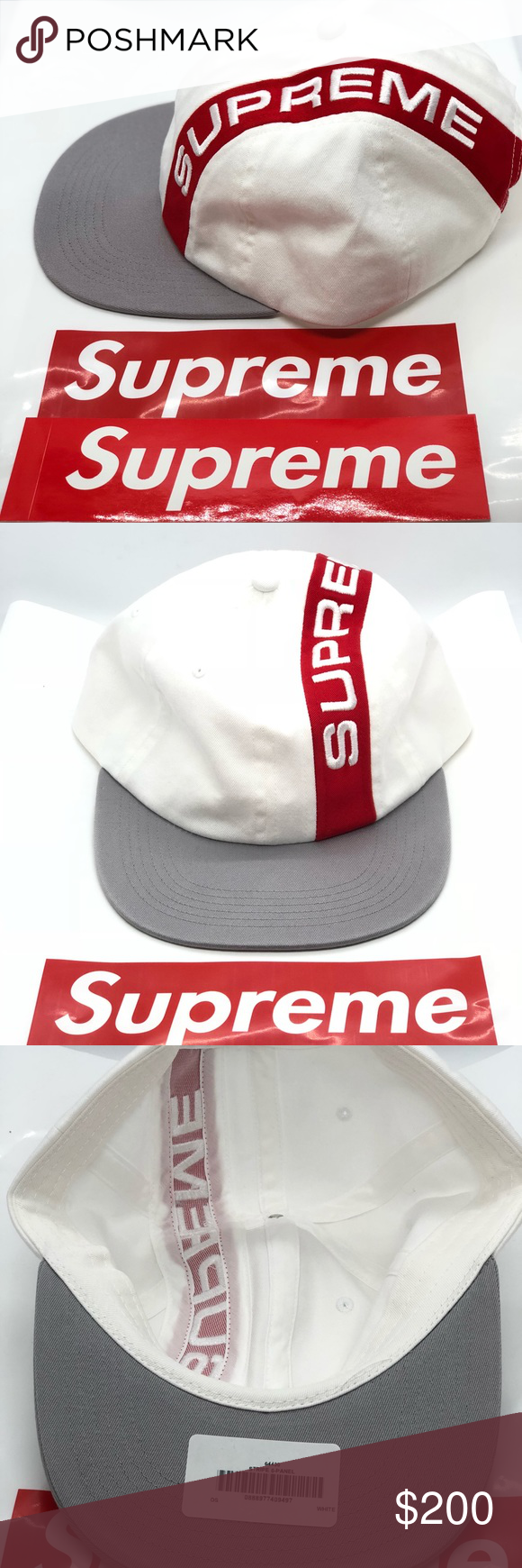 00076fc8 New Supreme Stripe 6 Panel White Cap Email receipt will be provided from  Supreme app order. Supreme Accessories Hats