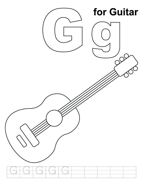 fender guitar coloring pages g for page with handwriting