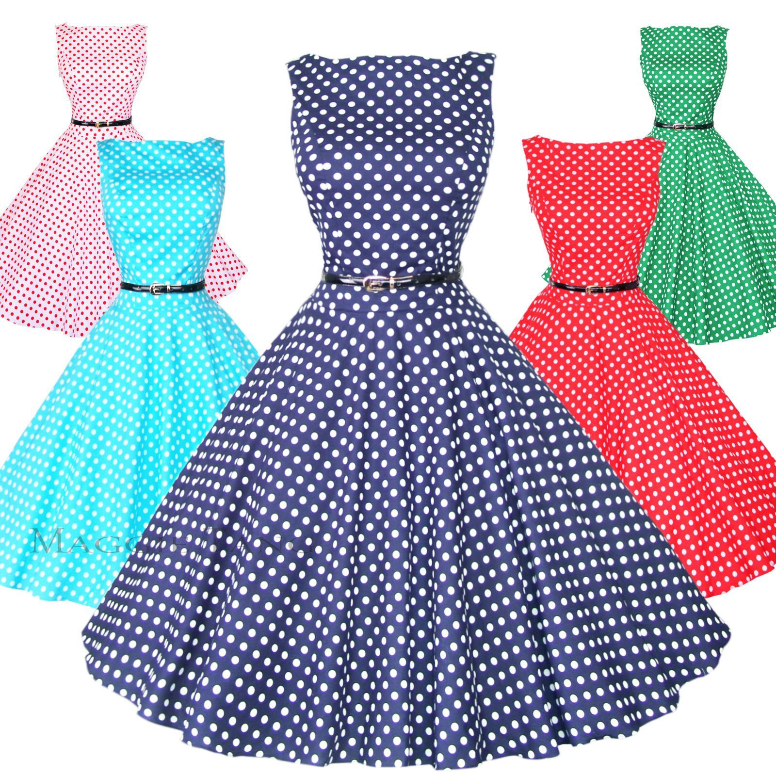 1ddc5a67291 Maggie Tang 50S Vtg Retro Pinup Rockabilly Polka Dot Housewife Swing Dress  K-533