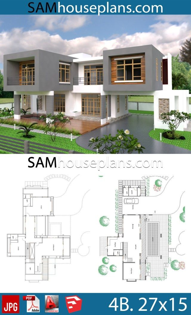 House Plans 27x15 With 4 Bedrooms Sam House Plans Modern House Plans House Plans House Plan Gallery