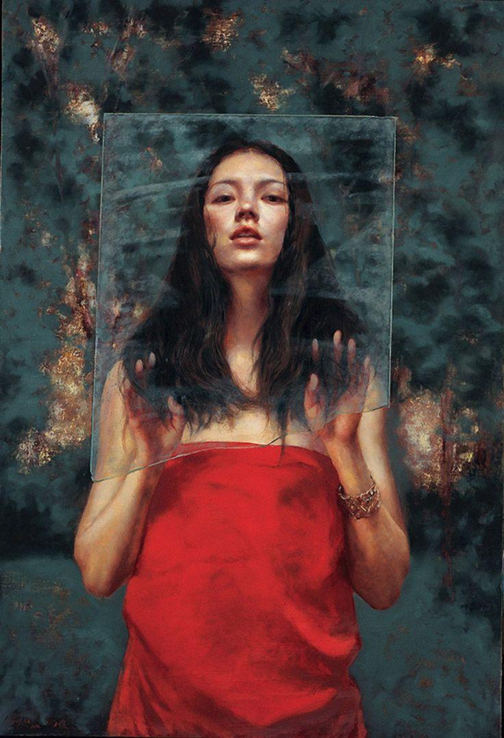 "Inhale Without Breathing"" - He Lihuai (b. 1961), oil on linen {contemporary  figurative art brunette female red dress woman … | Artwork, Portrait,  Portrait painting"