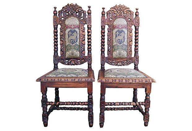 Antique Carved Spanish Chairs, Pair on OneKingsLane.com - Antique Carved Spanish Chairs, Pair On OneKingsLane.com Spanish