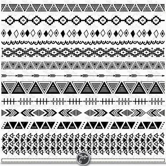 Aztec Borders Tribal Borders Clipart Aztec Etsy Clip Art Borders Tribal Band Marquesan Tattoos
