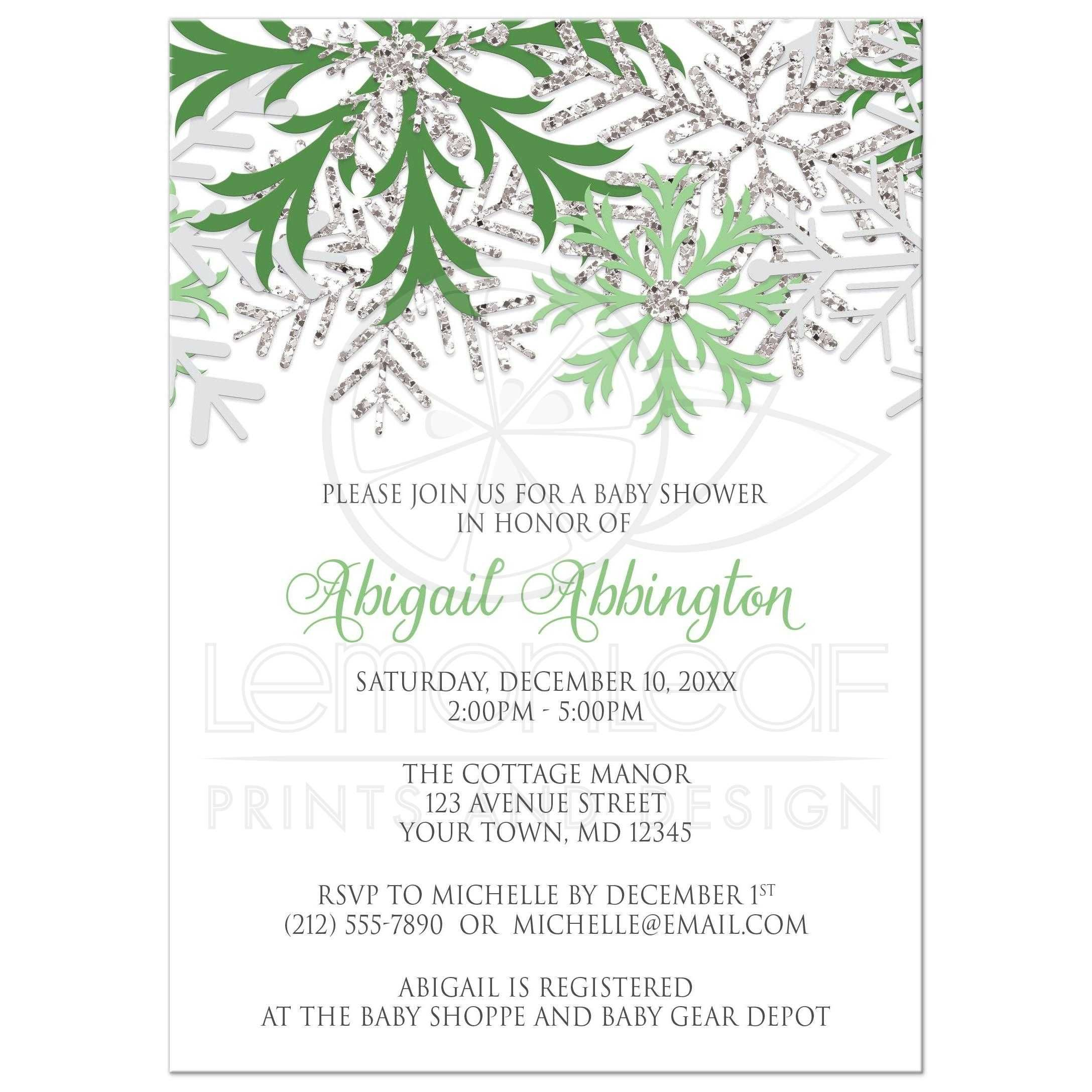Baby Shower Invitations - Winter Snowflake Green Silver | Shower ...