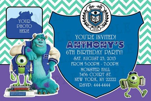 Monsters University Birthday Invitation Personalized With Your Info