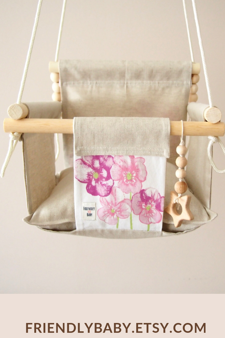 Pink Flower Baby Swing High Back Swing Baby Girl Room Wood Swing Toddler Playroom Decor Natural Toy Nursery Swing Holiday Gift Fabric Swing Baby Swings Toddler Playroom Wooden Baby Swing
