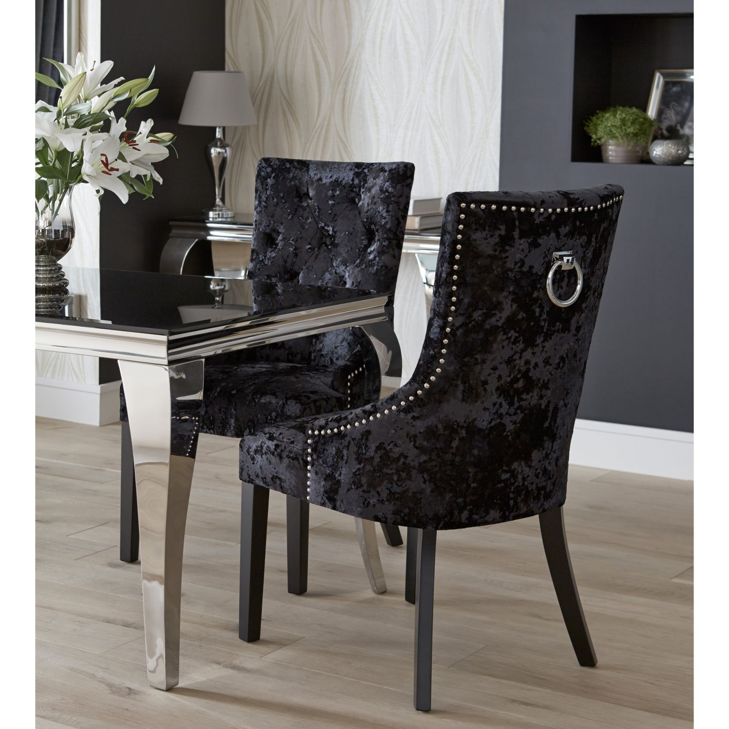 Dita Ring Back Velvet Chair Velvet Dining Chairs Fabric Dining Chairs Studded Chair