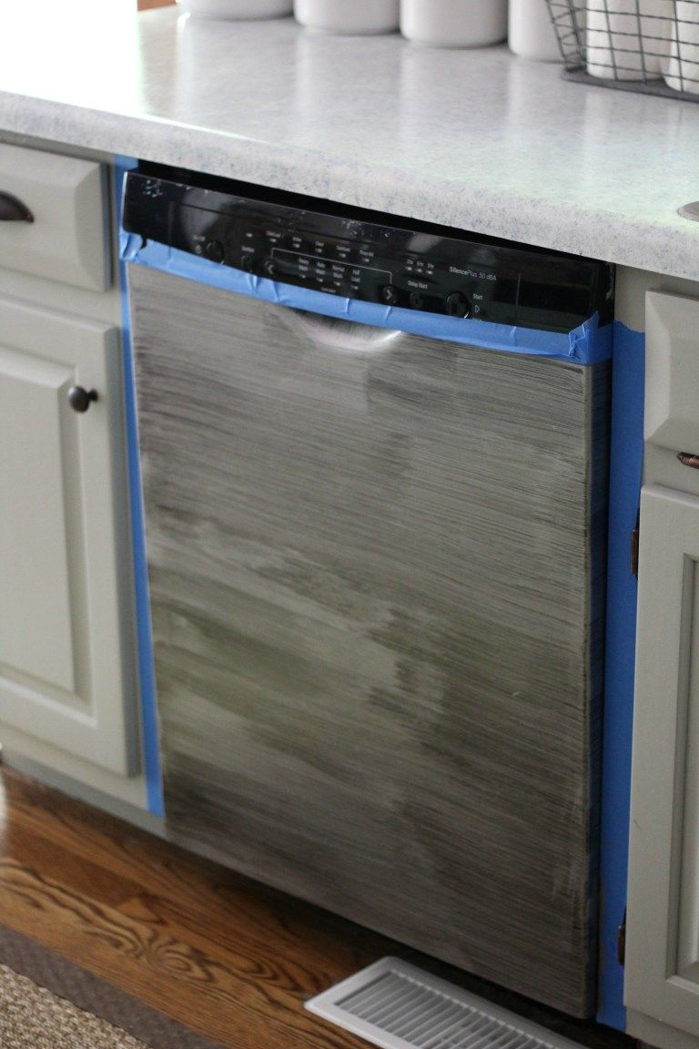 Dishwasher Makerover Using Liquid Stainless Steel Stainless Steel Paint Stainless Steel Furniture Stainless Steel Fridge