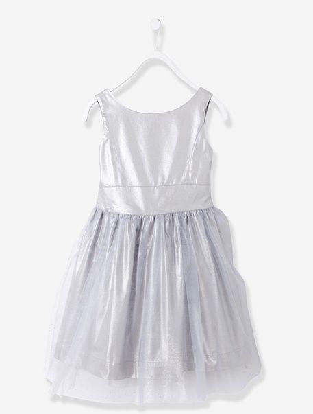 16215b6fb Vestido de ceremonia satén y muselina niña - Beige maquillaje+Blanco+Gris  irisado - 5