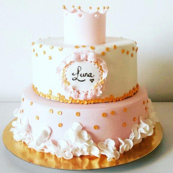 Roze/wit/goud voor Luna's 1e verjaardag.