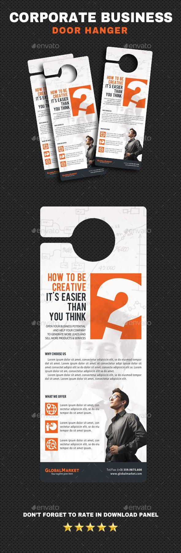 Corporate Door Hangers V21 — PSD Template #4.25x11 #marketing ...