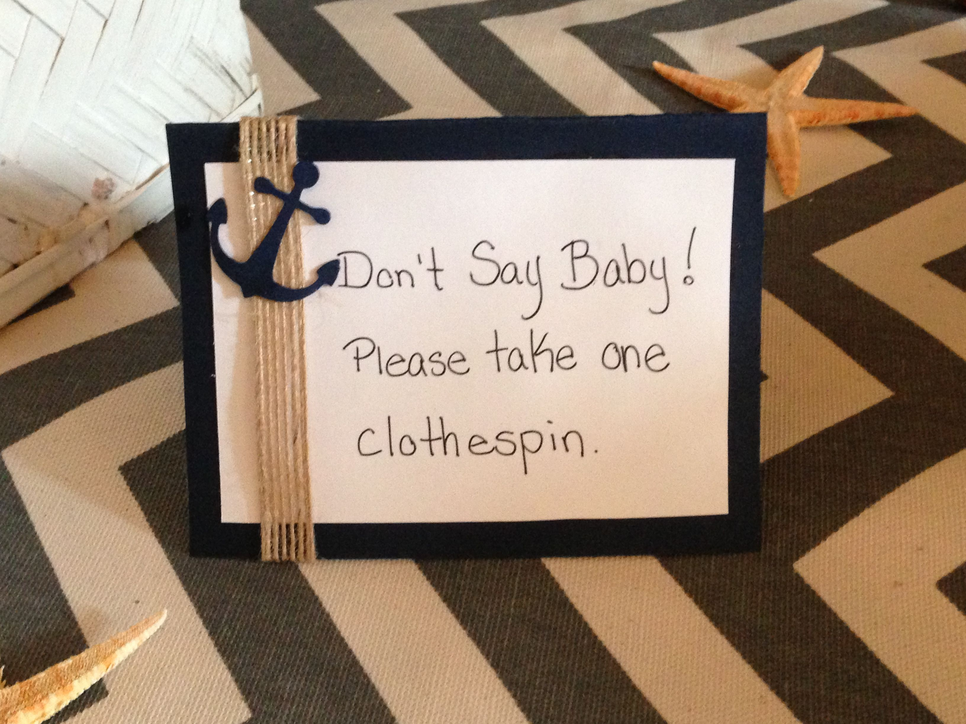 Nautical Baby Shower Clothespin Game