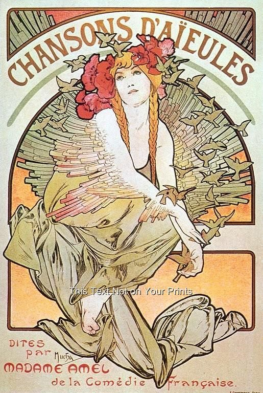 rare alfons alphonse mucha art nouveau prints vintage reproduction paintings pic is part of Art nouveau mucha - Rare Alfons Alphonse Mucha Art Nouveau Prints Vintage Reproduction Paintings Pic artNouveau Print
