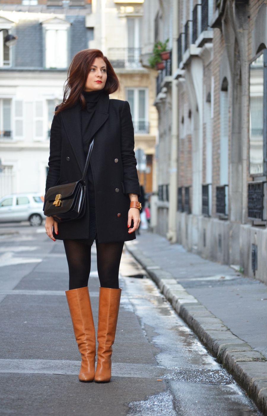 WASTED HOURS Manteau Mango \u2013 pull Gap \u2013 jupe Zara \u2013 bottes Tara Jarmon \u2013  bracelet Hermès \u2013 sac Céline