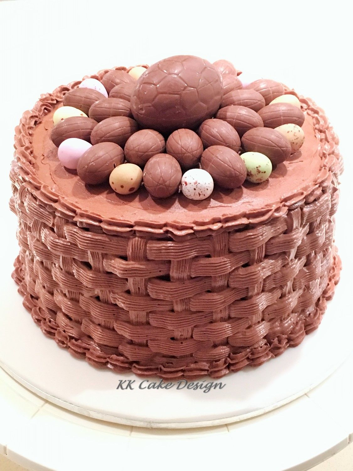 Easter egg basket weave chocolate cake. Piped with swiss meringue ...